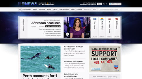 Nine News homepage